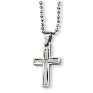 Chisel Stainless Steel Diamond Accent Cross Necklace
