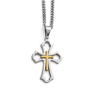 Versil Stainless Steel Yellow Cross Brushed/Polished Necklace