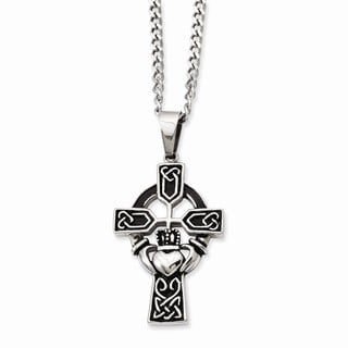 Versil Stainless Steel Antiqued Claddagh Pendant Necklace