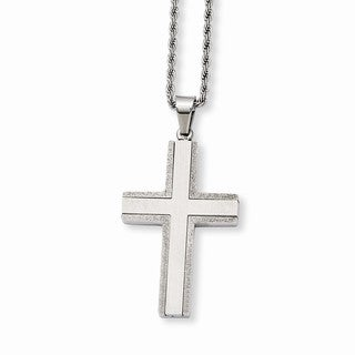 Versil Stainless Steel Laser Cut Edges Cross Pendant Necklace