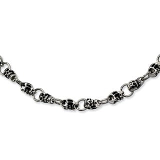 Chisel Stainless Steel Skull 24-inch Necklace