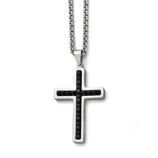 Versil Stainless Steel Polished Black Genuine Leather Inlay Cross Necklace