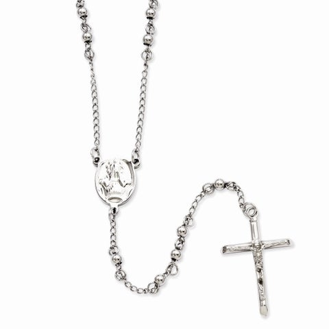 Versil Stainless Steel 4mm Bead Rosary Necklace