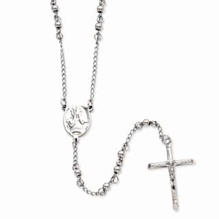 Versil Stainless Steel 4mm Bead Rosary Necklace|https://ak1.ostkcdn.com/images/products/11510466/P18461217.jpg?impolicy=medium
