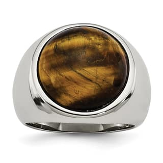 Versil Stainless Steel Tiger's Eye Ring|https://ak1.ostkcdn.com/images/products/11510467/P18461239.jpg?impolicy=medium
