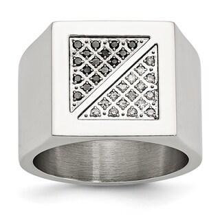 Versil Stainless Steel Black and White Diamond Ring