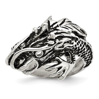 Versil Stainless Steel Antiqued Dragon Ring
