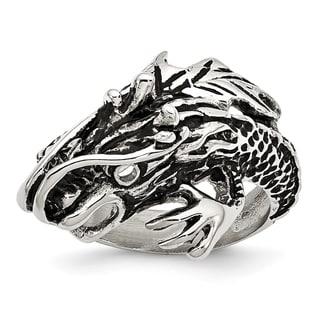 Versil Stainless Steel Antiqued Dragon Ring