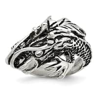 Chisel Stainless Steel Antiqued Dragon Ring