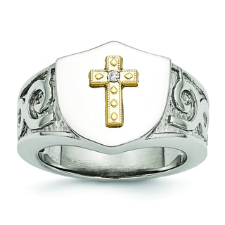 Versil Stainless Steel with 10K Gold Cross and .02ct Diamond Polished Ring