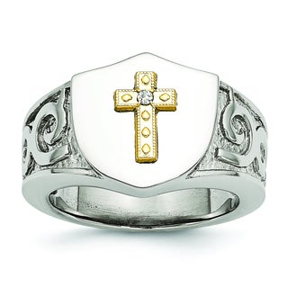 Chisel Stainless Steel with 10 Karat Gold Cross and .02ct Diamond Ring