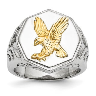 Versil Stainless Steel Yellow Eagle Polished Ring
