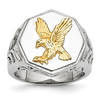 Chisel Stainless Steel Yellow IP-plated Eagle Polished Ring