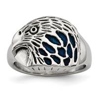 Versil Stainless Steel Polished Blue Enamel Eagle Ring