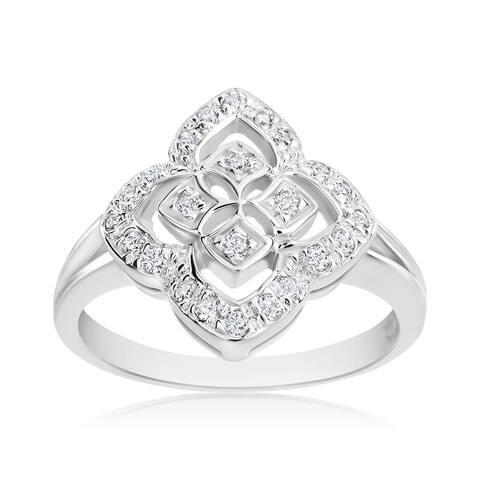 SummerRose 14k White Gold 1/4ct TDW Diamond Vintage Ring