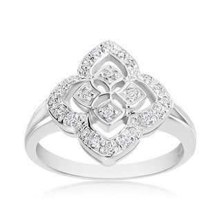 Andrew Charles 14k White Gold 1/4ct TDW Diamond Antique Ring (H-I, SI1-SI2)