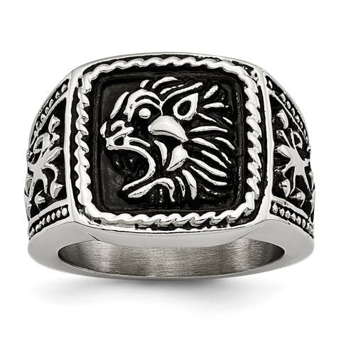 Chisel Stainless Steel Antiqued Lion Ring