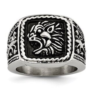 Versil Stainless Steel Antiqued Lion Ring