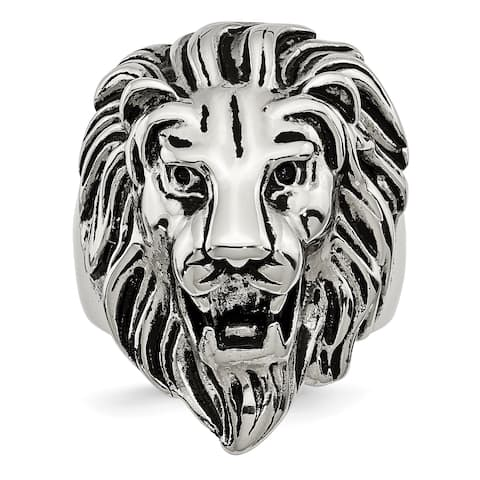 Chisel Stainless Steel Polished and Antiqued Lion Ring