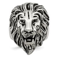 Versil Stainless Steel Polished and Antiqued Lion Ring