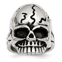 Versil Stainless Steel Polished and Antiqued Skull Ring