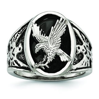 Versil Stainless Steel Polished Enameled Eagle Ring