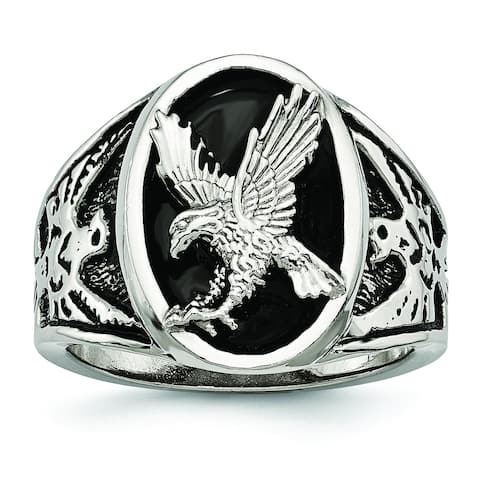 Chisel Stainless Steel High Polished Black Enameled Eagle Ring
