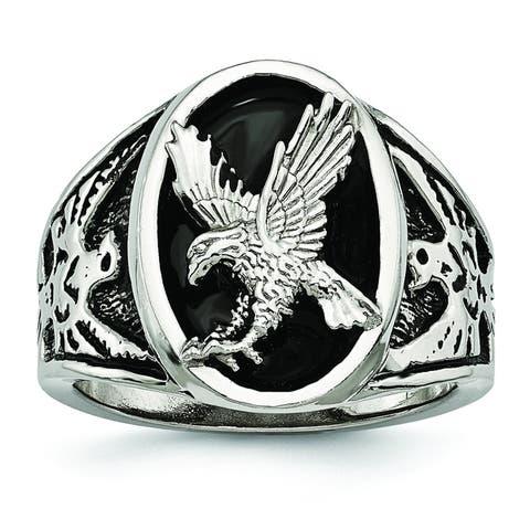 Chisel Stainless Steel High Polished Black Enameled Eagle Ring