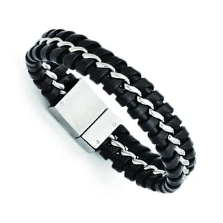Versil Stainless Steel Black Leather Brushed and Polished Bracelet|https://ak1.ostkcdn.com/images/products/11510489/P18461249.jpg?impolicy=medium