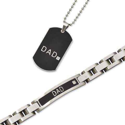 Chisel Black Stainless Steel 'Dad' Bracelet and Necklace Set