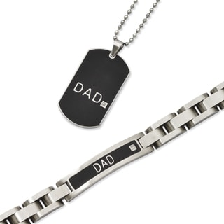 Versil Black Stainless Steel 'Dad' Bracelet and Necklace Set