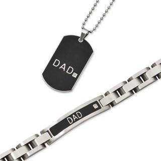 Versil Black Stainless Steel 'Dad' Bracelet and Necklace Set