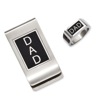 Versil Stainless Steel Black Enamel Dad Money Clip and Ring Set