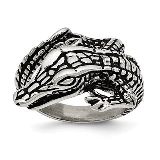 Versil Stainless Steel Antiqued Alligator Ring