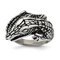 Chisel Stainless Steel Antiqued Alligator Ring