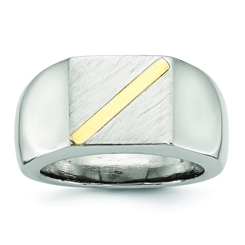 Chisel Stainless Steel Brushed and Polished with 14 Karat Gold Stripe Signet Ring