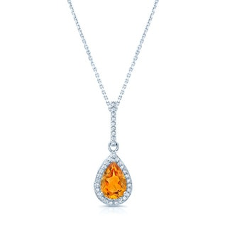 14k White Gold Citrine 1/10ct TDW Diamond Necklace (H-I, VS1-VS2)