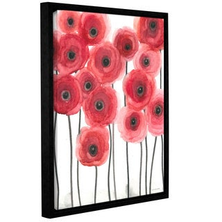 ArtWall Norman Wyatt JR's ' Poppies On White' Gallery Wrapped Floater-framed Canvas