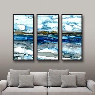 ArtWall Norman Wyatt JR's 'Silver Coast' 3-Piece Floater Framed Canvas Set