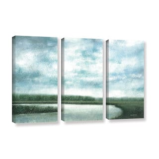 ArtWall Norman Wyatt JR's 'Cloudy Day Marsh'  3-Piece Gallery Wrapped Canvas Set