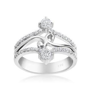 Andrew Charles 14k White Gold 5/8ct TDW Fancy Diamond Ring (H-I, SI1-SI2)