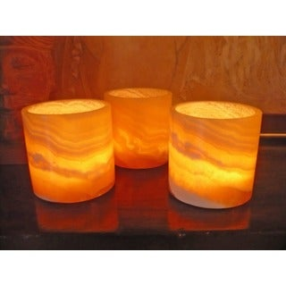 Set of 3 Alabaster Votive Holders, Handmade in , Handmade in Egypt