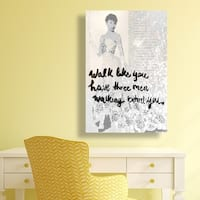Oliver Gal  'Walk Among the Stars' Typography Wall Art Print on Premium Canvas - gray