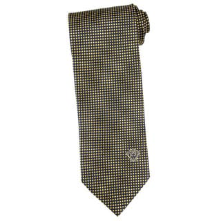 Versace 100-percent Italian Silk 3-inch Wide Blue/ Gold Diamond Check Neck Tie