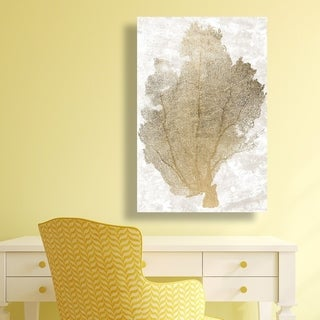 Gold Coral Fan 2' Canvas Art