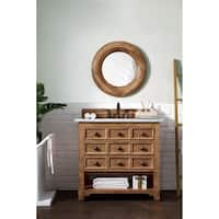 "Malibu 36"" Honey Alder Single Vanity with 4 CM Galala Beige Marble Stone Top"