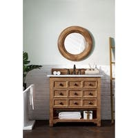 "Malibu 36"" Honey Alder Single Vanity with 4 CM Carrara White Stone Top"