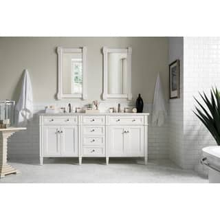 double vanity with makeup counter. Cottage White Brittany 72 inch Double Vanity Cabinet Bathroom Vanities  Cabinets For Less Overstock com