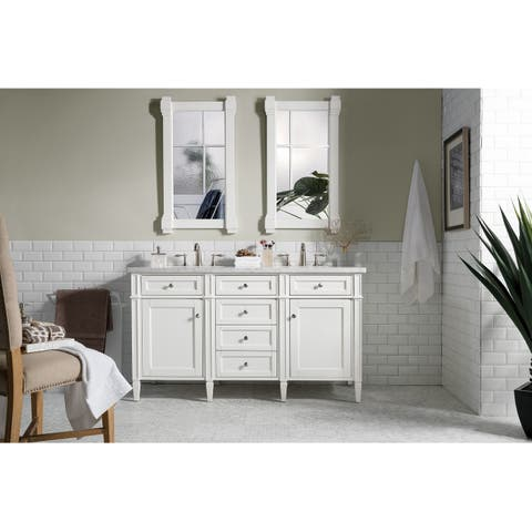 "Brittany 60"" Double Cabinet, Cottage White"