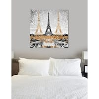 Oliver Gal  'Triple Paris Gold' Cities Wall Art Print on Premium Canvas - gold, gray